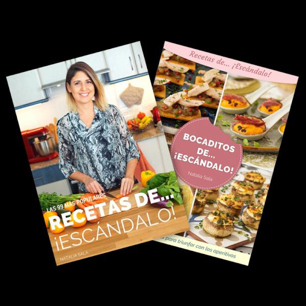 portadas de los dos ebooks de recetas de escándalo
